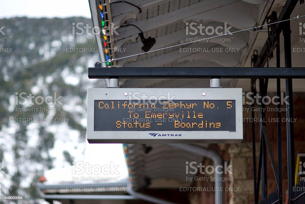 Close-up, Boarding Sign for Amtrak's 'California Zephyr' Train stock photo