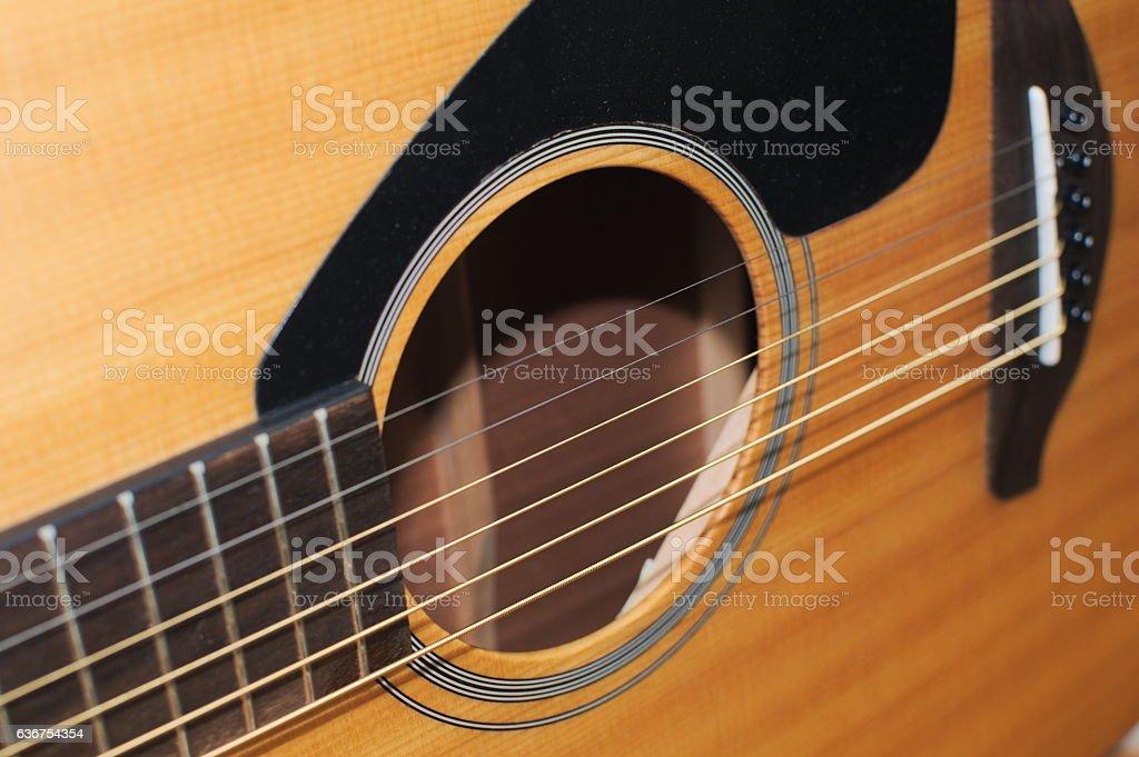 Closeup Body Acoustic Guitar stock photo