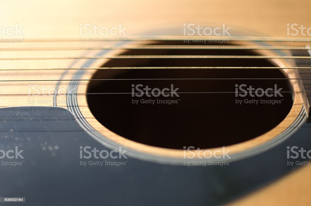 Close-up body of acoustic guitar stock photo