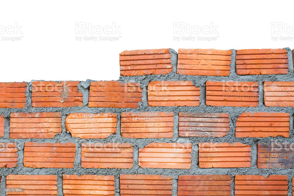closeup brick wall, isolated on white background stock photo