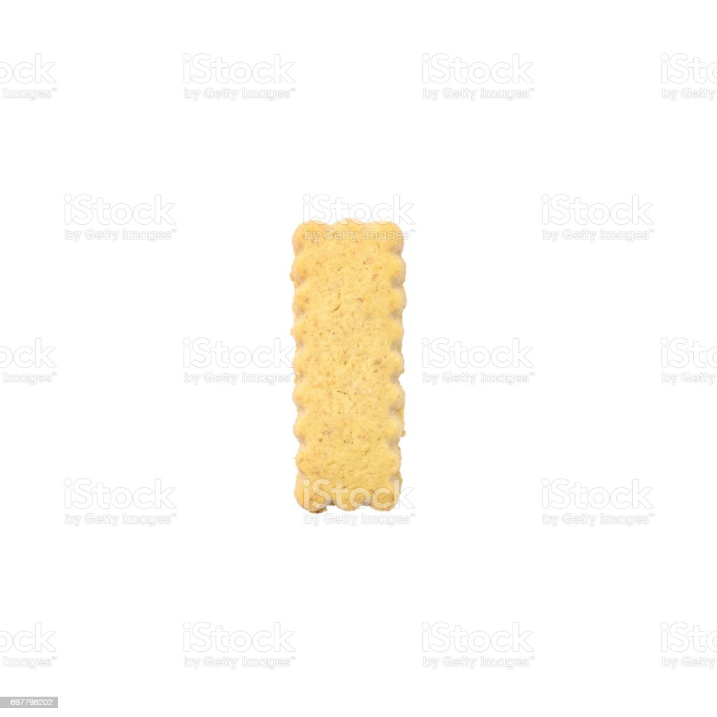 Closeup brown biscuit in I english alphabet isolated on white background with clipping path stock photo