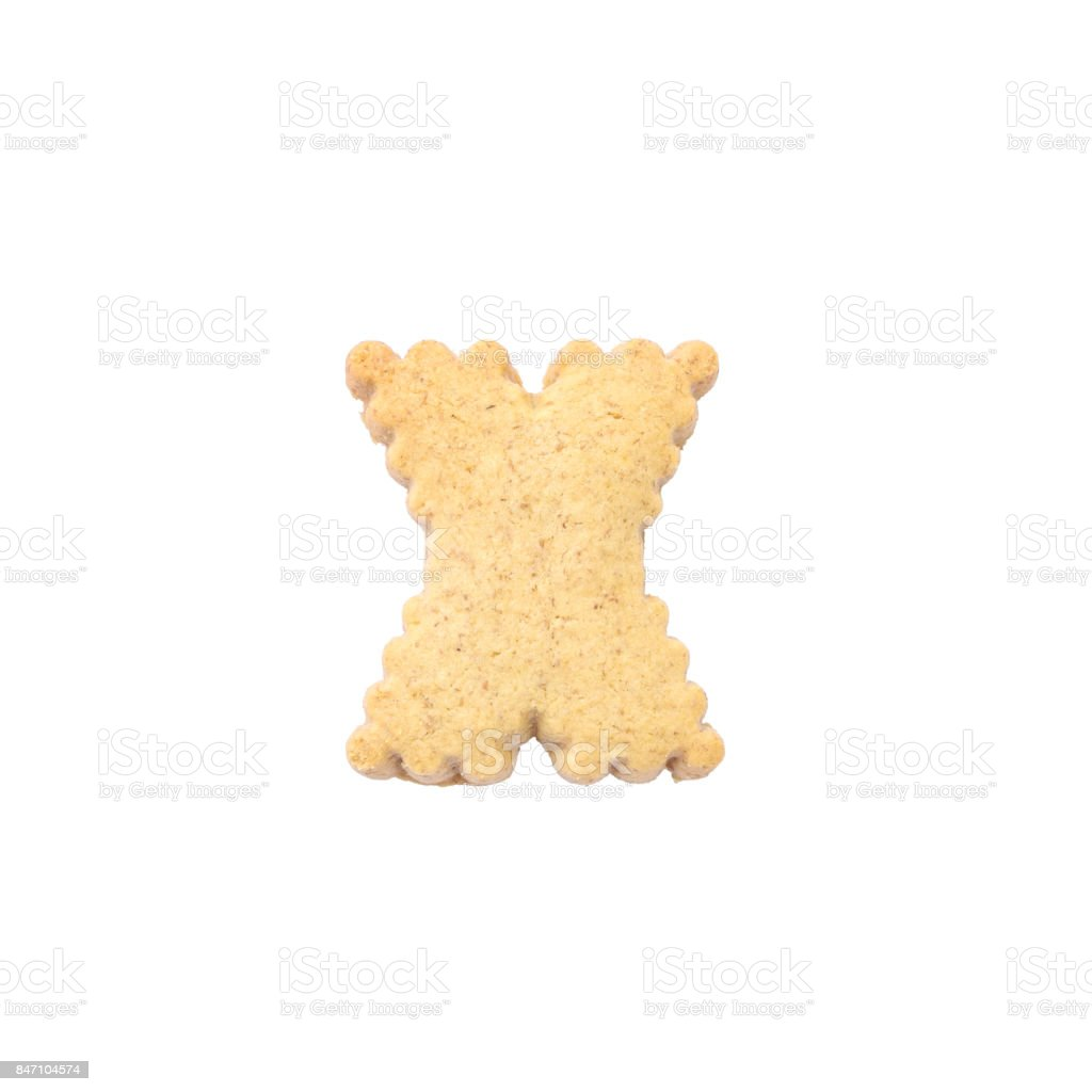 Closeup brown biscuit in X english alphabet isolated on white background with clipping path stock photo