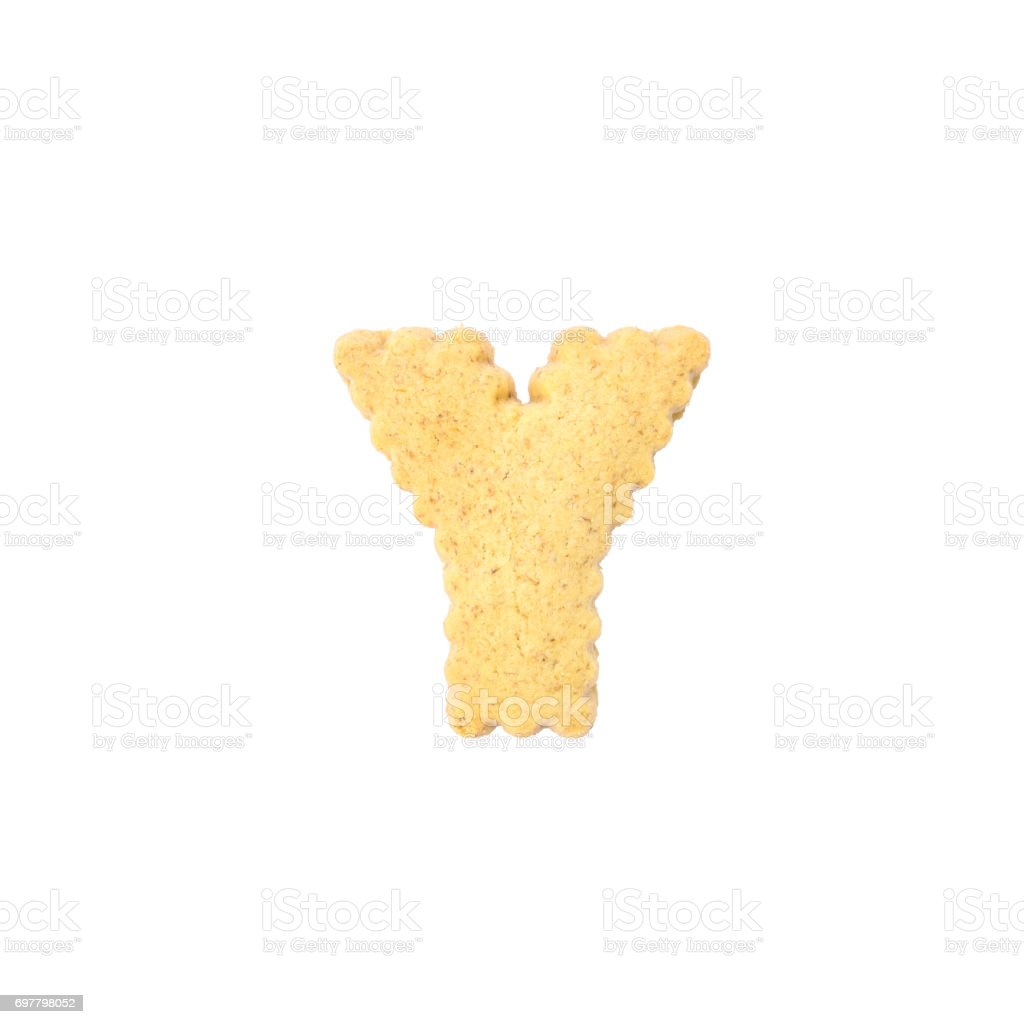 Closeup brown cookie in Y english alphabet isolated on white background with clipping path stock photo