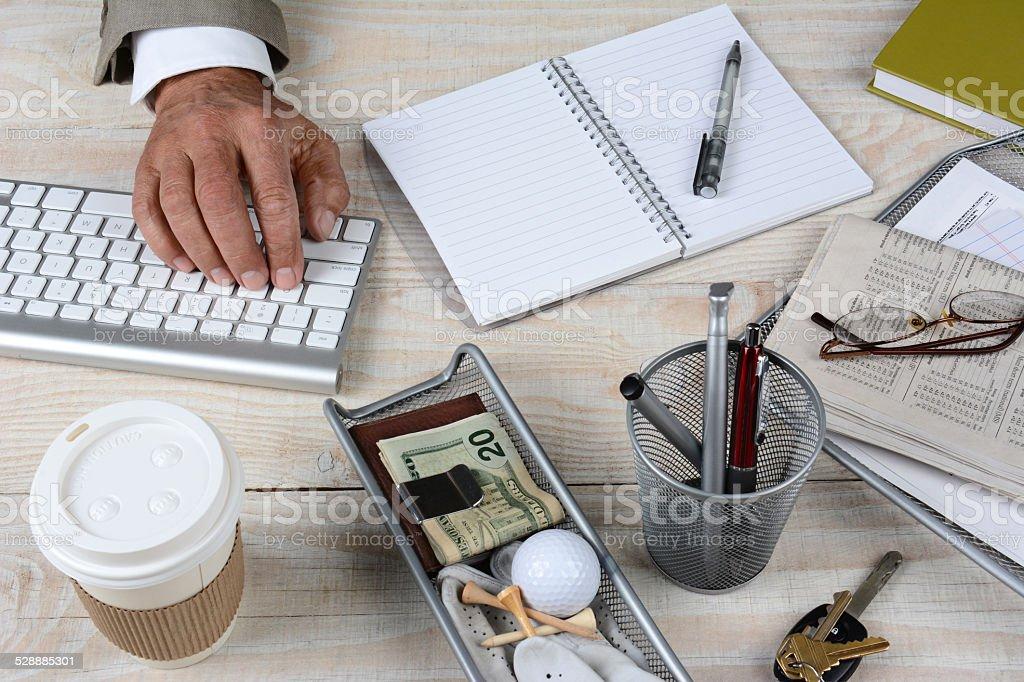 Closeup Businessmans Desk stock photo
