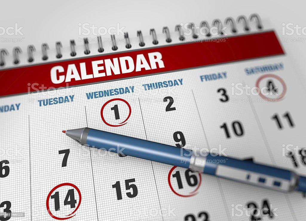 Closeup calendar page royalty-free stock photo