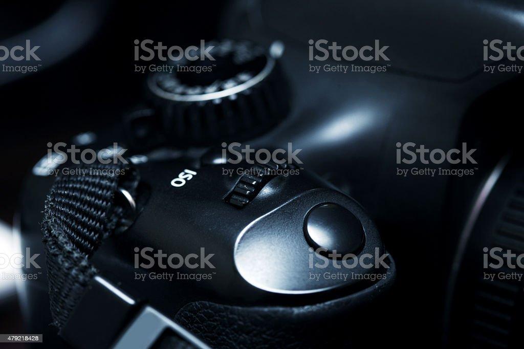 Close-Up Camera Button stock photo