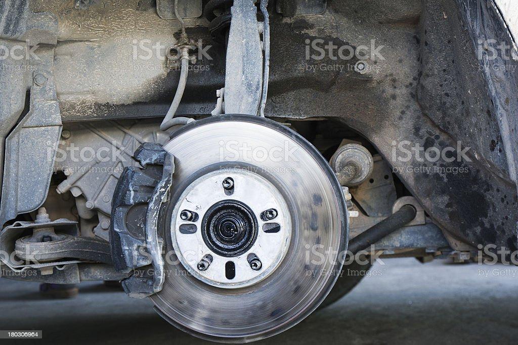 Closeup car disc brakes servicing stock photo