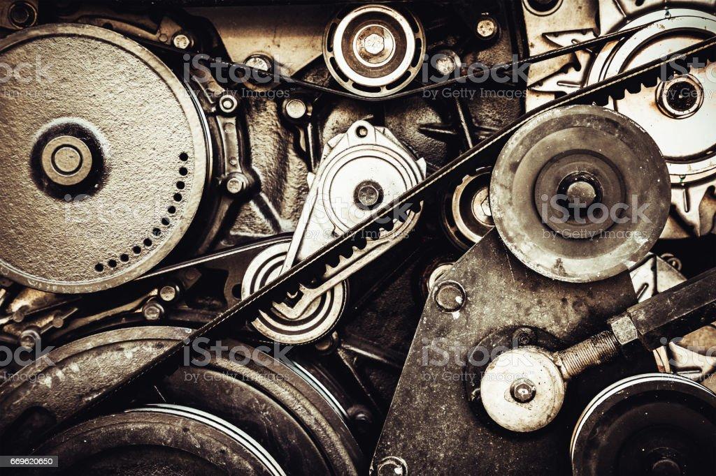 close-up car engine, internal combustion engine. stock photo