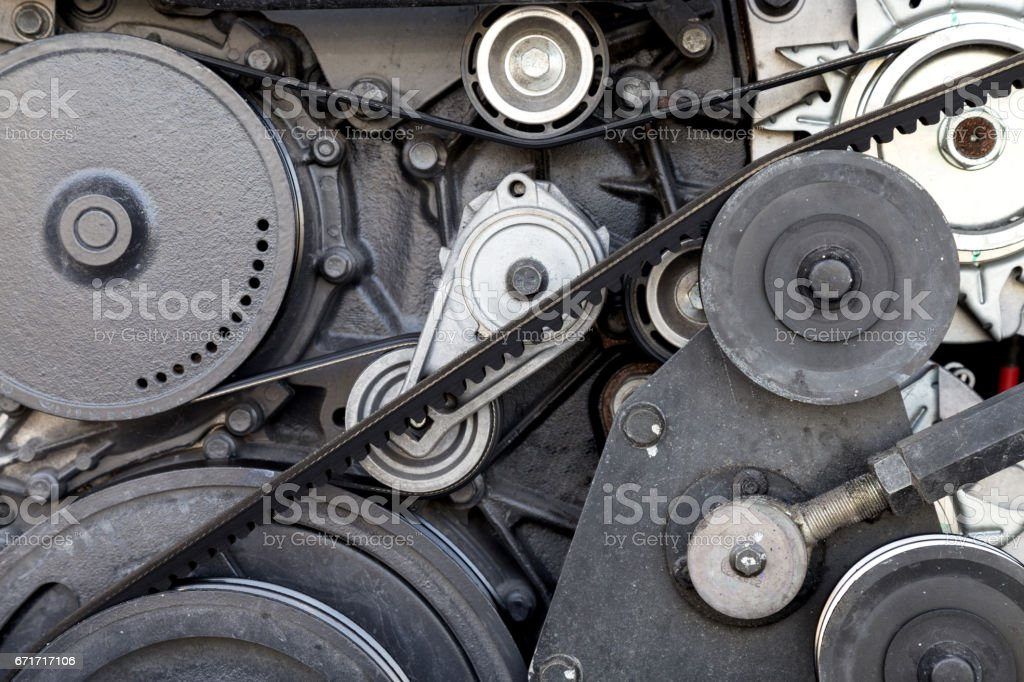 close-up car engine, internal combustion engine. stock photo