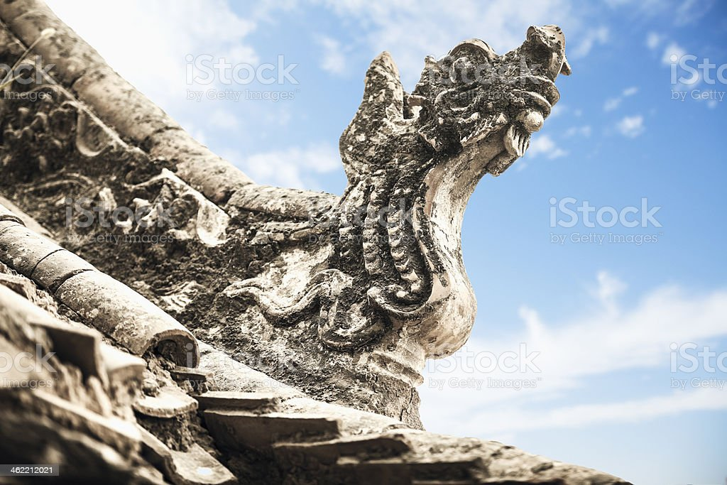 Close-up - carvings on roof of the pagoda, day royalty-free stock photo