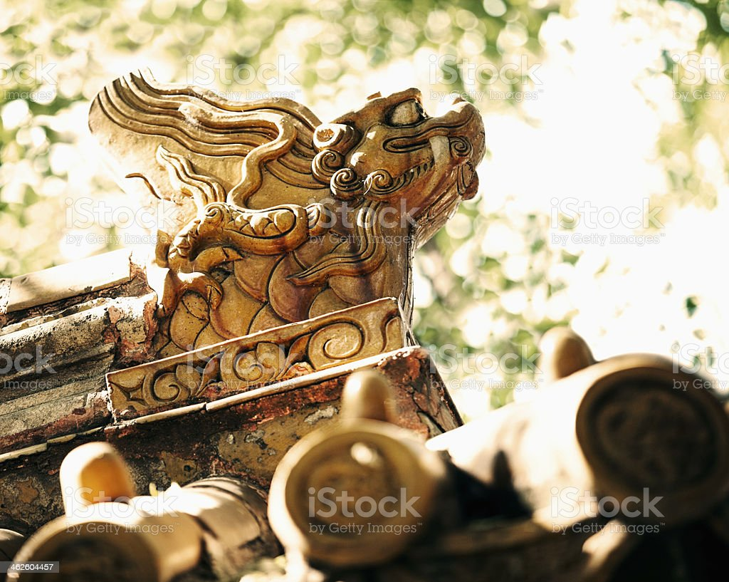 Close-up - carvings on roof of the pagoda, daytime royalty-free stock photo