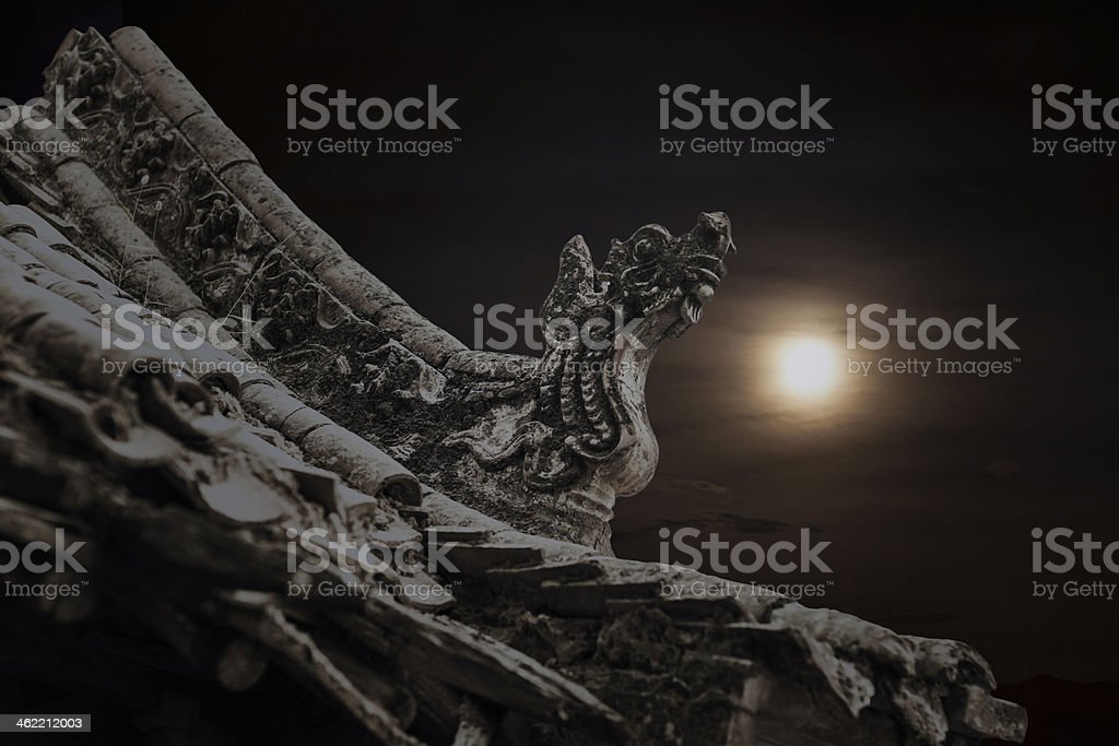 Close-up - carvings on roof of the pagoda royalty-free stock photo