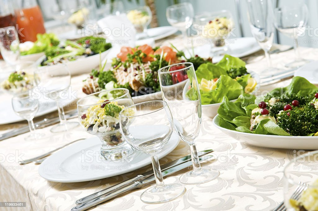 close-up catering table set royalty-free stock photo