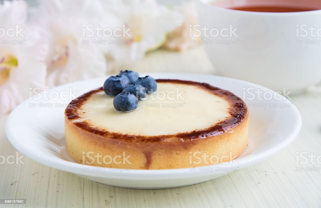 Closeup cheese cake with blueberry and cup of tea stock photo