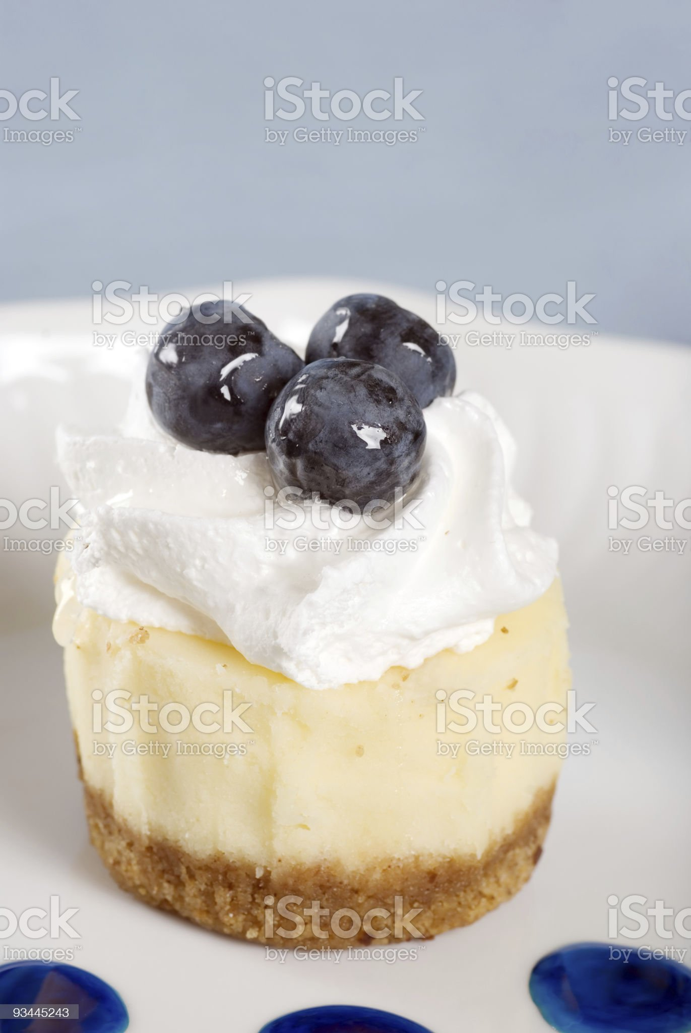 Closeup Cheesecake with fresh blueberries royalty-free stock photo