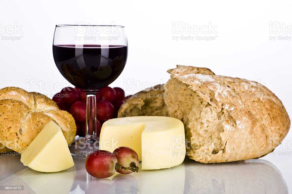 Closeup Cheese,Grapes, Bread and  Red Wine royalty-free stock photo