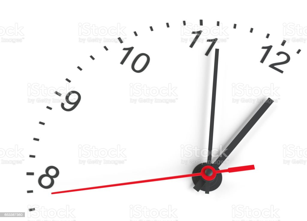Close-up clock face. Isolated stock photo