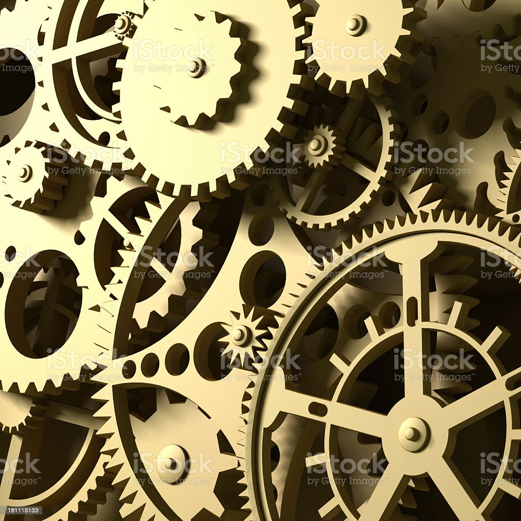 Close-up clockwork. Abstract 3d background. stock photo