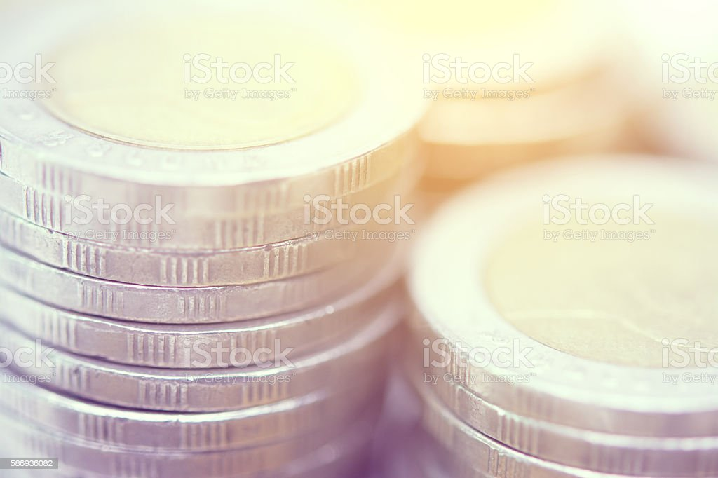 close-up coins stacks vintage tone stock photo