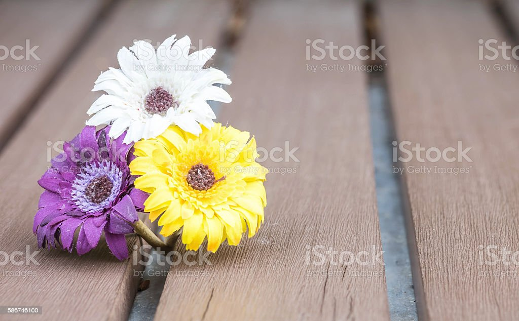 Closeup colorful faked flower for decorate stock photo