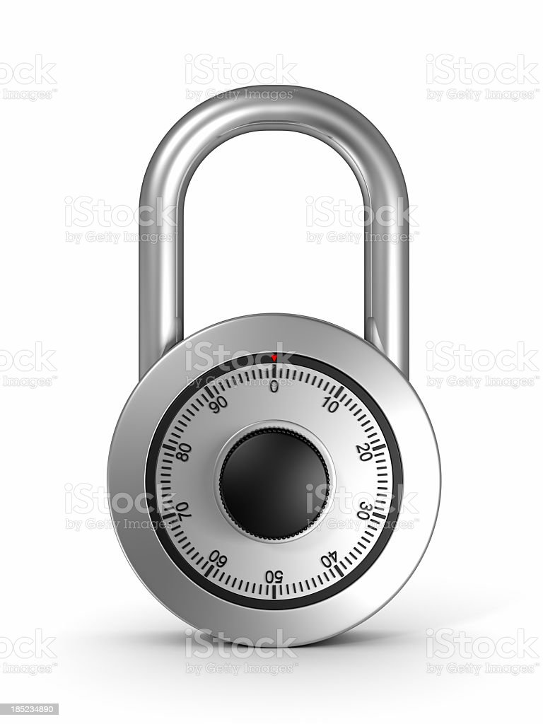 Close-up combination lock locked with dial set to 0 zero stock photo