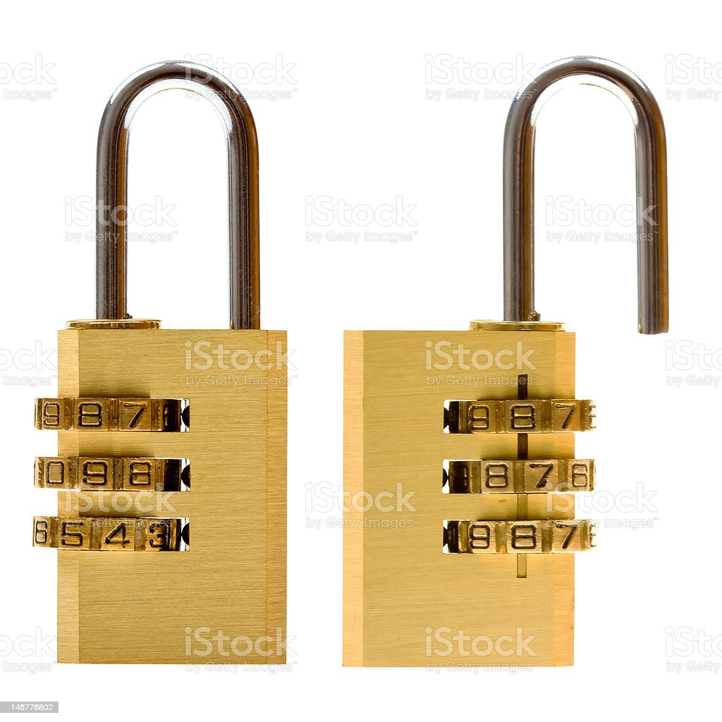 Close-up combination padlock (closed & open) isolated on white royalty-free stock photo