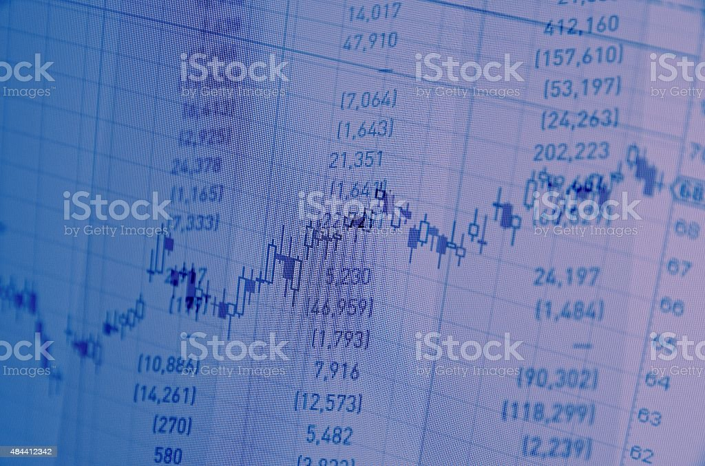 Close-up computer monitor with trading software. Multiple exposure photography. stock photo