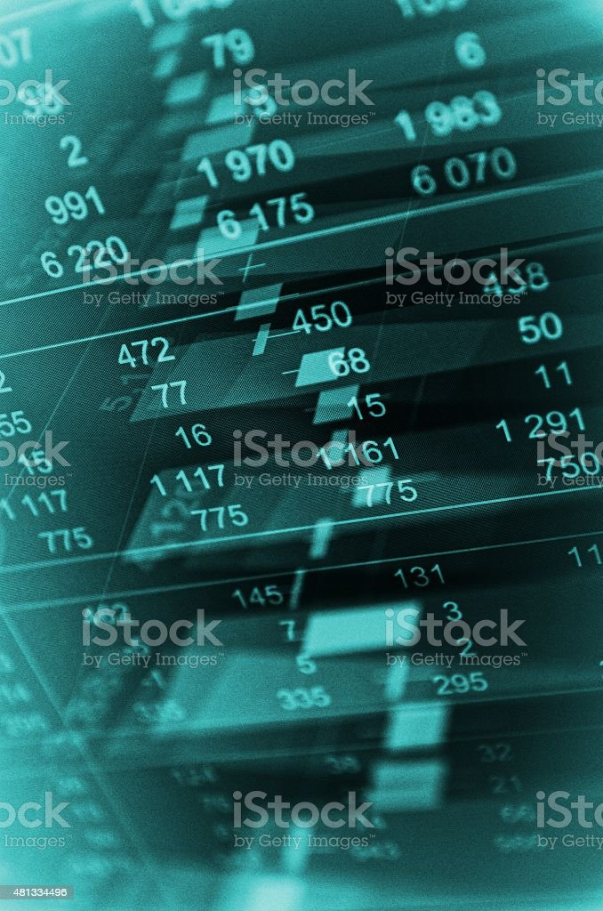 Close-up computer monitor with trading software stock photo
