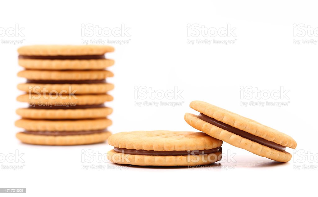 Closeup cookie biscuits with filling royalty-free stock photo