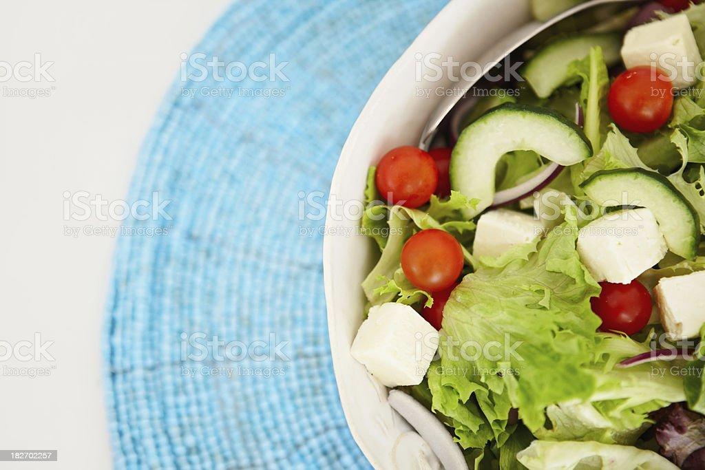 Closeup cut image of a Greek salad royalty-free stock photo