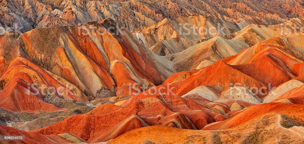 Close-up Danxia Landform at Sunset stock photo