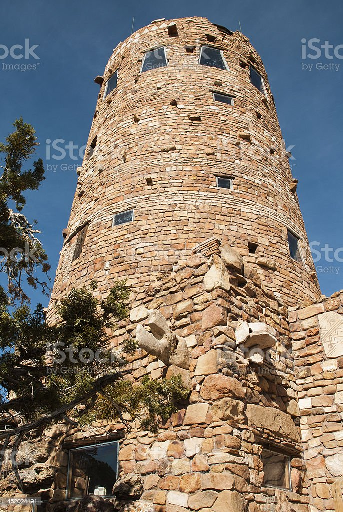 Closeup Desert View Watchtower Grand Canyon Arizona stock photo