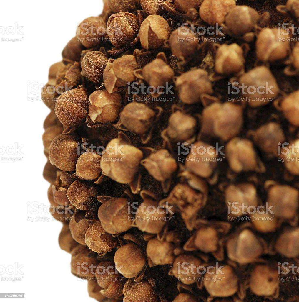 Closeup detail of clove and orange pomander stock photo