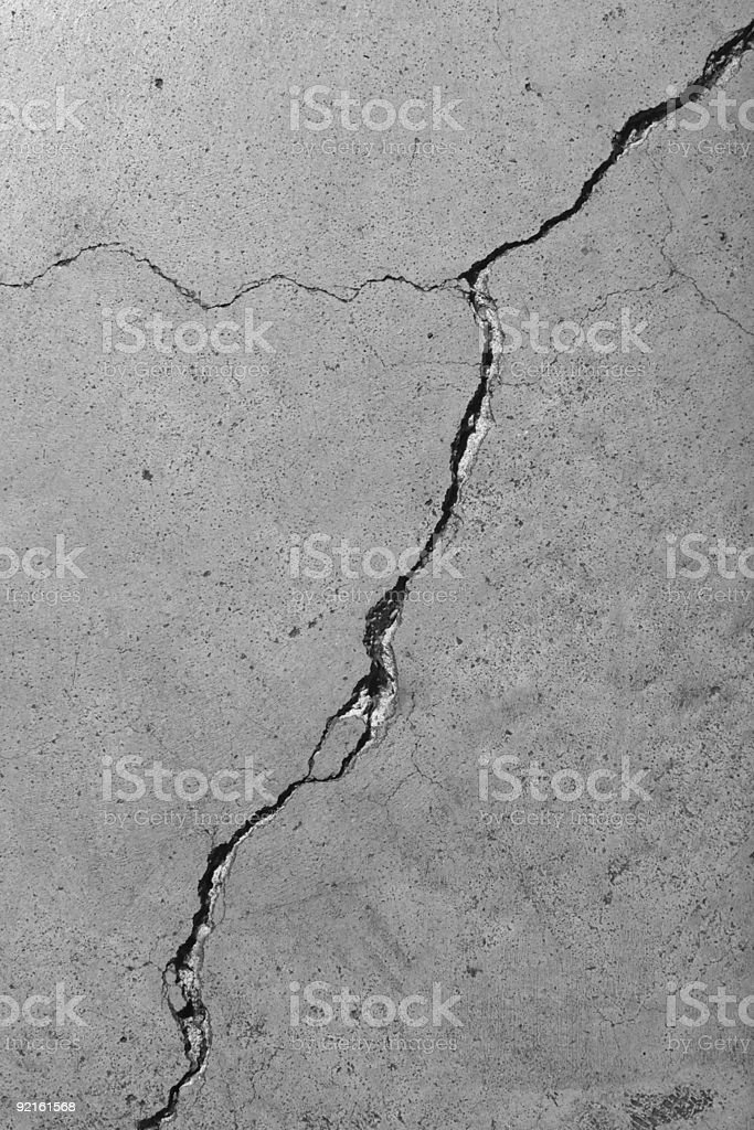 Closeup Detail of Diagonal Cracks in Cement Floor stock photo