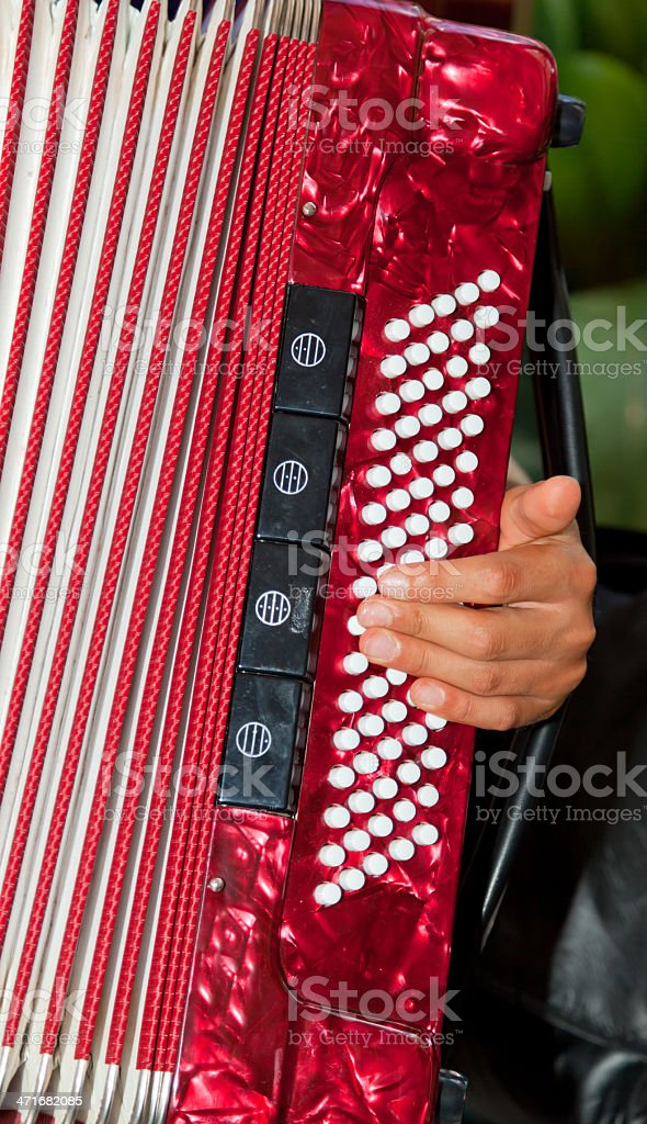 Closeup detail of hands playing a red accordion instrument royalty-free stock photo