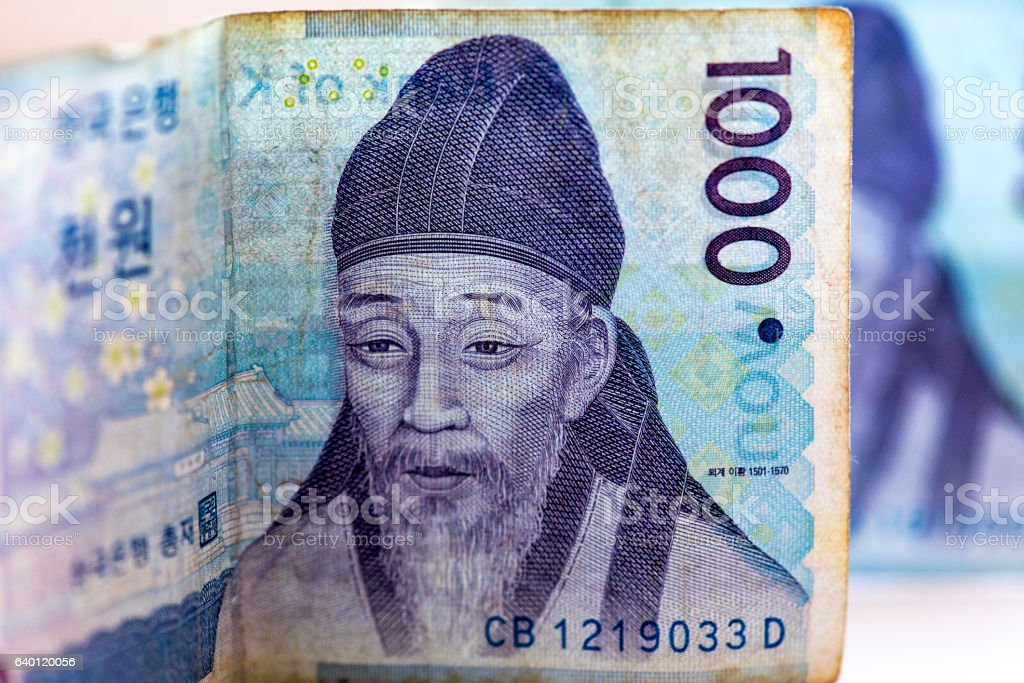 Close-up detail of Korean money - 1000 WON, background stock photo