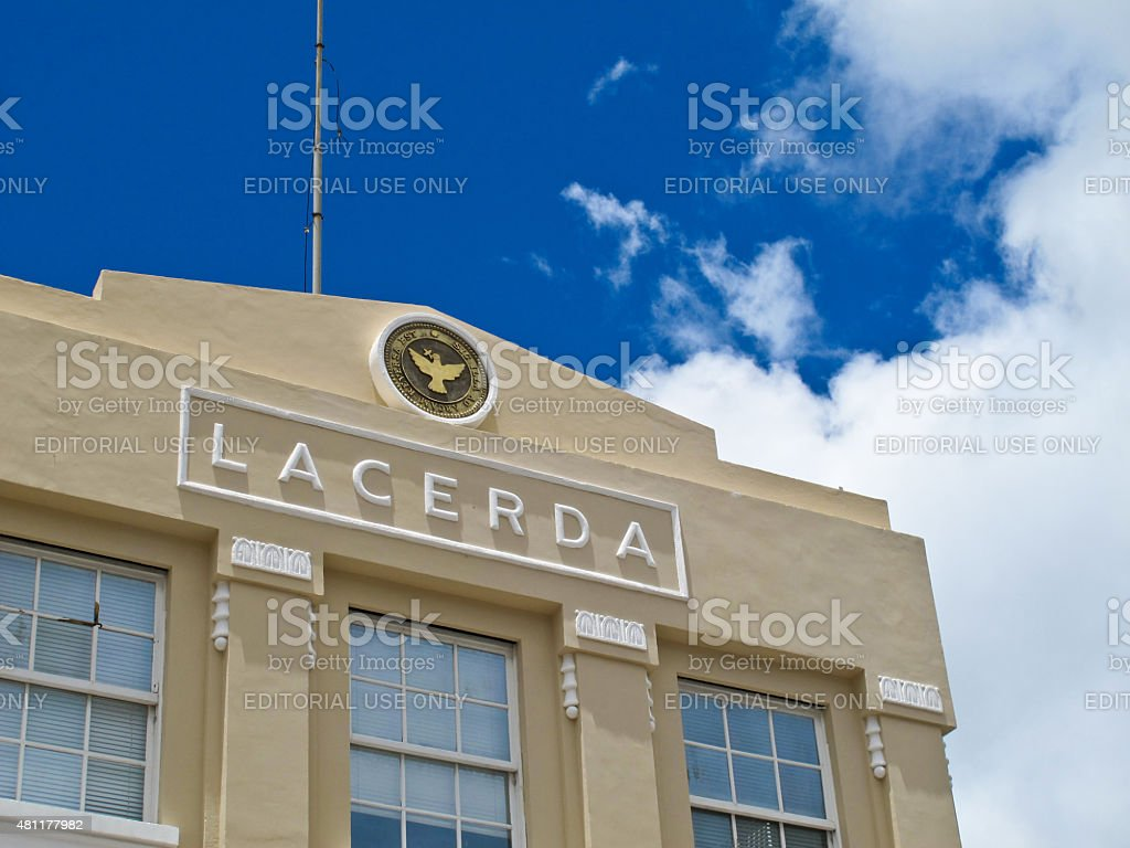 Close-Up Detail of Lacerda?s Elevator Building in Salvador Bahia Brazil stock photo