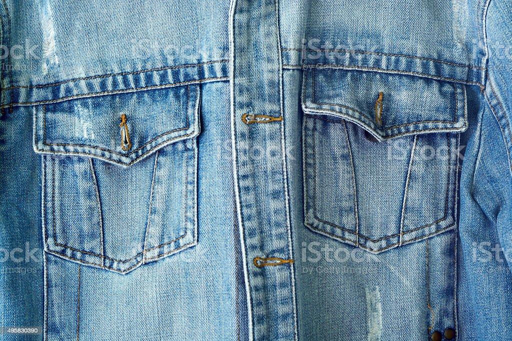 closeup detail of vintage denim jacket stock photo