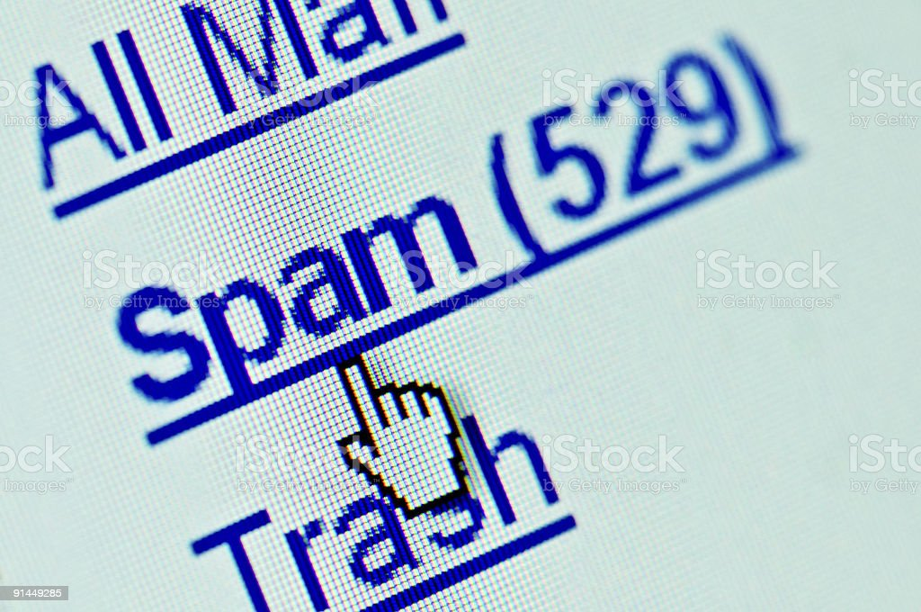 Close-up digital display spam link in email inbox stock photo