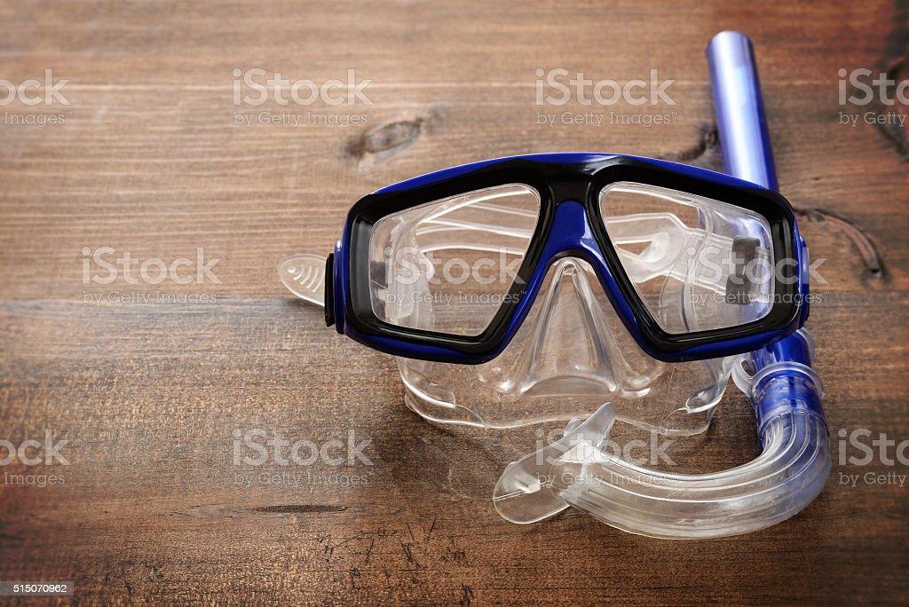 closeup diving mask and snorkel stock photo