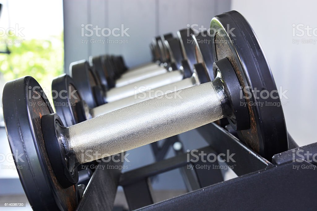 closeup dumbbells in fitness royalty-free stock photo