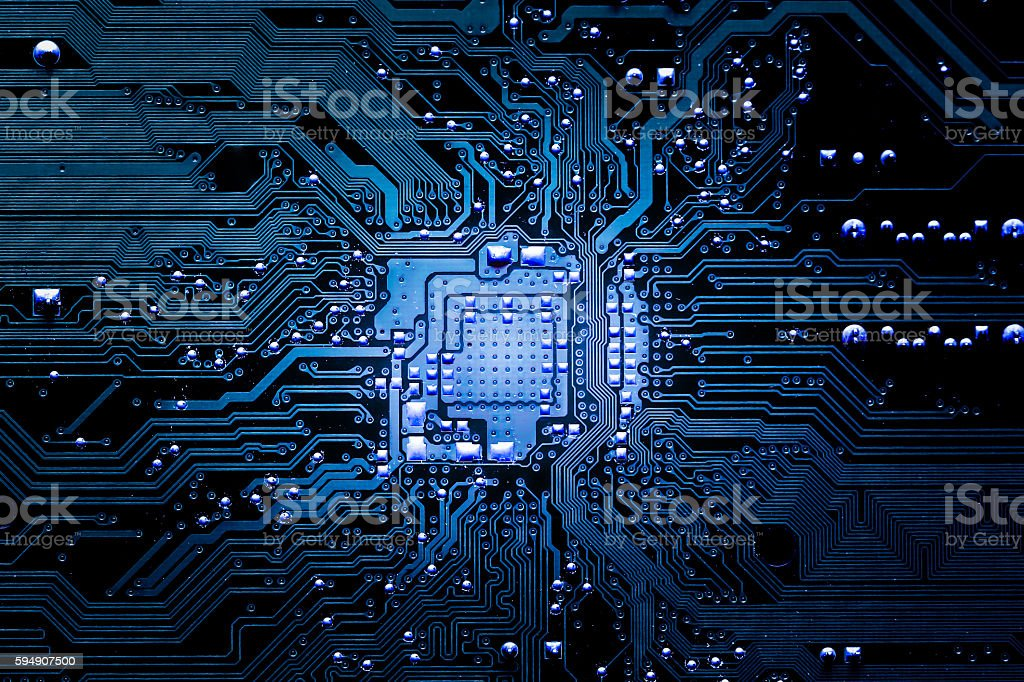 Closeup electronic circuit board stock photo