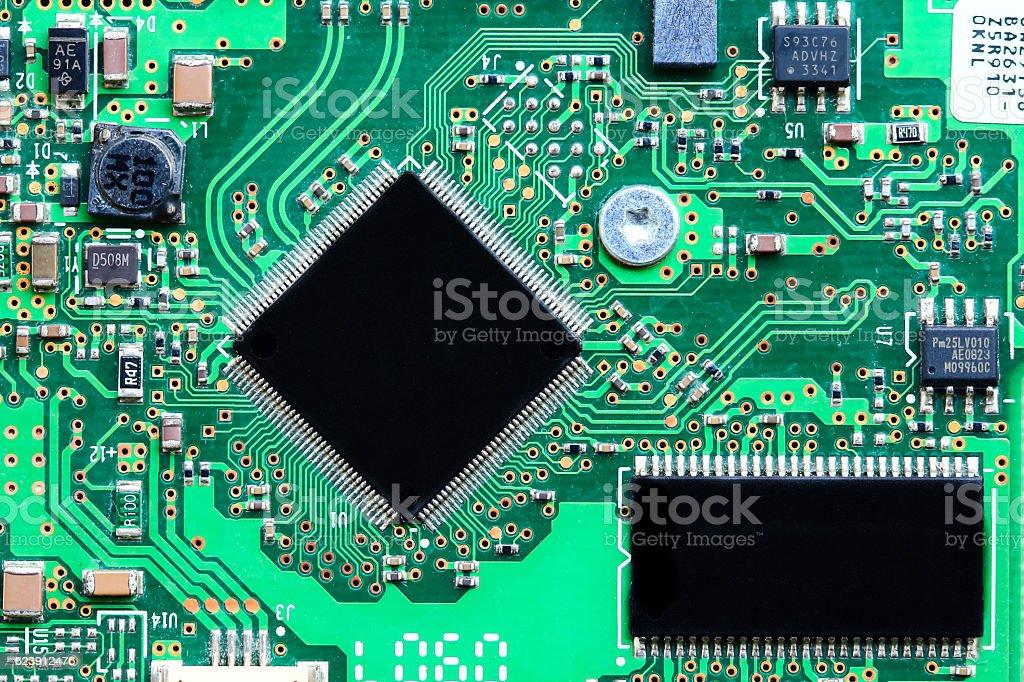 Closeup electronic circuit board stock photo