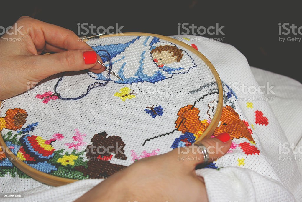 Close-up embroidery stock photo