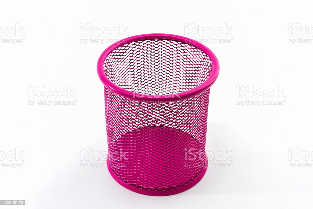 Closeup empty pink pail. stock photo
