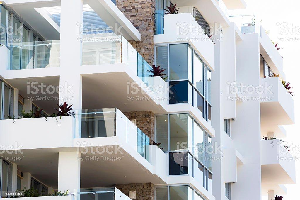 Closeup exterior of modern apartment building stock photo