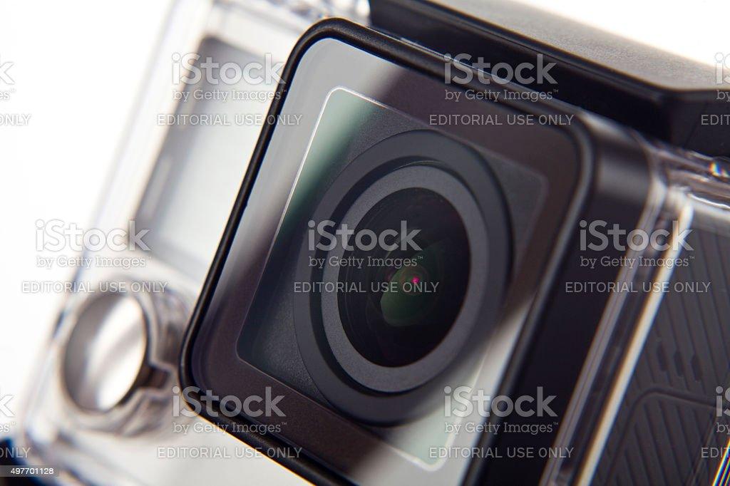 closeup extreme camera on white background stock photo