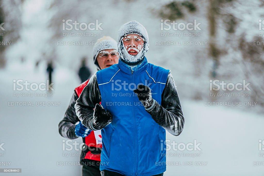 클로즈업 얼굴 frost 어린 선수 runner royalty-free 스톡 사진