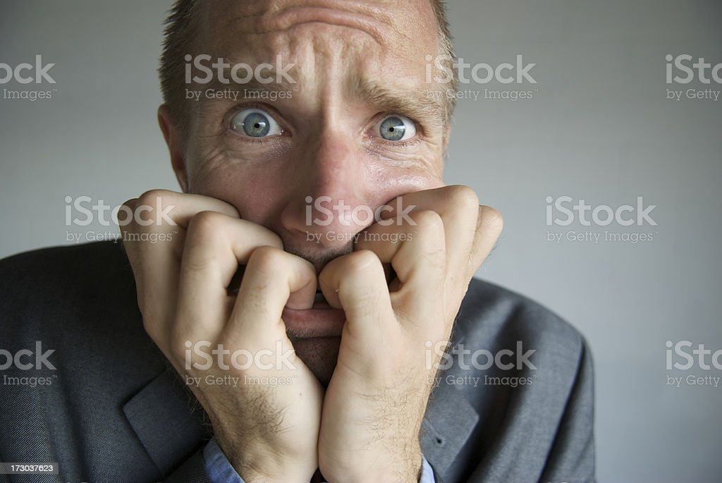 Close-Up Face of Businessman Stressing Out stock photo