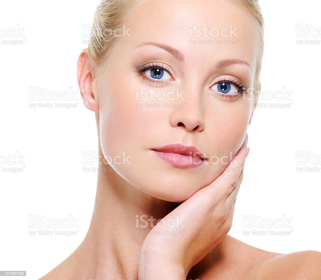 Close-up face of healthy woman with blue eyes royalty-free stock photo